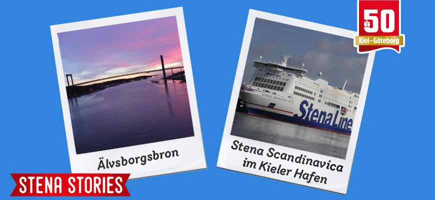 Stena Stories: Älvsborgsbron im Sonnenuntergang und Stena Scandinavica im Kieler Hafen