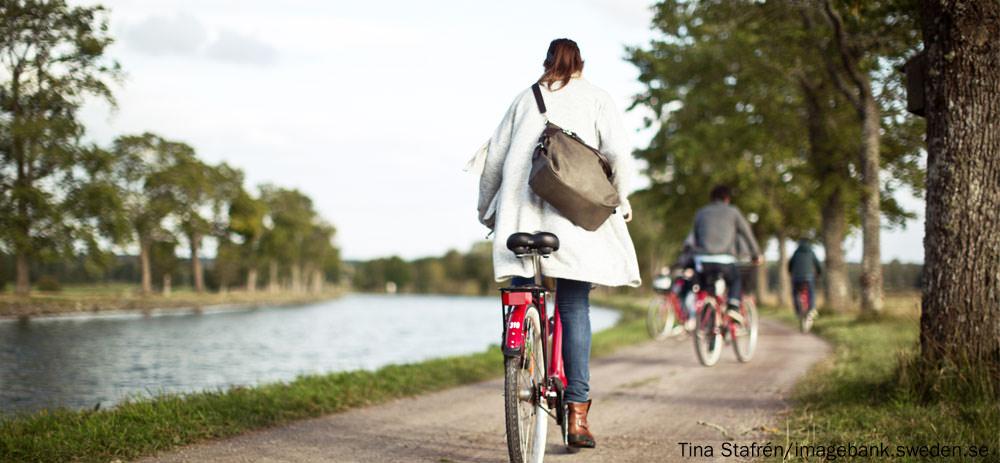 Fahrradfahren am Göta-Kanal